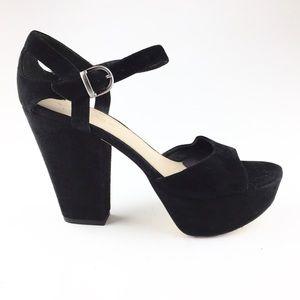Via Spiga Black Suede Platform Chunky Heels Size 9